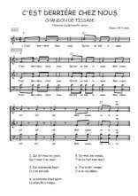 Téléchargez l'arrangement de la partition de Traditionnel-C-est-derriere-chez-nous en PDF à quatre voix
