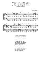Téléchargez l'arrangement de la partition de Inconnu-C-est-l-automne en PDF à deux voix