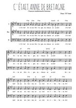 Téléchargez l'arrangement de la partition de bretagne-c-etait-anne-de-bretagne en PDF pour trois voix d'hommes
