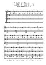 Téléchargez l'arrangement de la partition de Mykola-Dmytrovych-Leontovych-Carol-of-the-bells en PDF à quatre voix