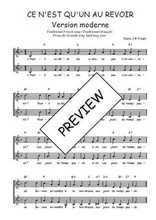 Téléchargez l'arrangement de la partition de Traditionnel-Ce-n-est-qu-un-au-revoir-version-moderne en PDF à deux voix