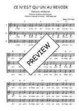 Téléchargez l'arrangement de la partition de Traditionnel-Ce-n-est-qu-un-au-revoir-version-moderne en PDF à trois voix