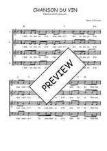 Téléchargez l'arrangement de la partition de Traditionnel-Chanson-du-vin en PDF à quatre voix