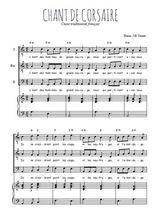 Téléchargez la partition de Chant de corsaires en PDF pour 3 voix TTB et piano
