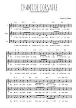 Téléchargez l'arrangement de la partition de Traditionnel-Chant-de-corsaires en PDF pour trois voix d'hommes