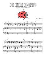 Téléchargez la partition de Coccinelle demoiselle en PDF pour 2 voix égales et piano