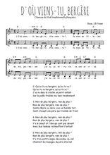Téléchargez l'arrangement de la partition de Traditionnel-D-ou-viens-tu en PDF à deux voix