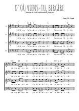 Téléchargez l'arrangement de la partition de Traditionnel-D-ou-viens-tu en PDF à quatre voix