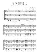 Téléchargez l'arrangement de la partition de noel-anglais-deck-the-hall en PDF pour trois voix de femmes