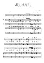 Téléchargez la partition de Deck the halls en PDF pour 3 voix TTB et piano