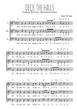 Téléchargez l'arrangement de la partition de noel-anglais-deck-the-hall en PDF pour trois voix d'hommes