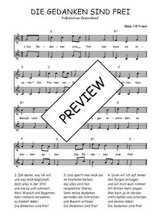 Téléchargez l'arrangement de la partition de Traditionnel-Die-gedanken-sind-frei en PDF à deux voix