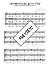 Téléchargez l'arrangement de la partition de Traditionnel-Die-gedanken-sind-frei en PDF à trois voix