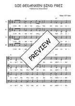 Téléchargez l'arrangement de la partition de Traditionnel-Die-gedanken-sind-frei en PDF à quatre voix