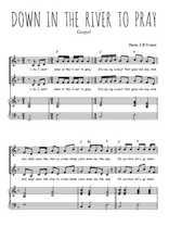 Téléchargez la partition de Down in the river to pray en PDF pour 2 voix égales et piano