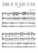 Téléchargez la partition de Down in the river to pray en PDF pour 3 voix SSA et piano
