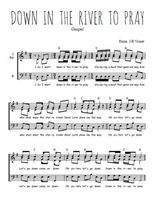 Téléchargez l'arrangement de la partition de gospel-down-in-the-river-to-pray en PDF pour trois voix d'hommes