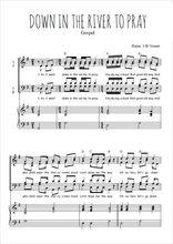 Téléchargez la partition de Down in the river to pray en PDF pour 4 voix SATB et piano