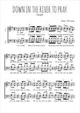 Téléchargez l'arrangement de la partition de gospel-down-in-the-river-to-pray en PDF à quatre voix