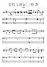 Téléchargez la partition de Down in the valley to pray en PDF pour 2 voix égales et piano