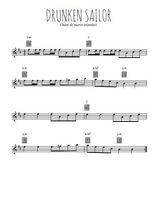Téléchargez la partition pour saxophone en Mib de la musique irlande-drunken-sailor en PDF