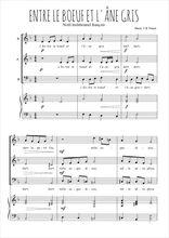 Téléchargez la partition de Entre le boeuf et l'âne gris en PDF pour 3 voix SAB et piano