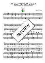 Téléchargez la partition de Es klappert die Mühle en PDF pour 2 voix égales et piano