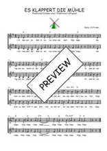 Téléchargez l'arrangement de la partition de Traditionnel-Es-klappert-die-Muhle en PDF à deux voix