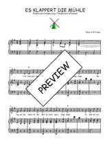 Téléchargez la partition de Es klappert die Mühle en PDF pour Chant et piano
