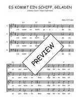 Téléchargez l'arrangement de la partition de Traditionnel-Es-kommt-ein-Schiff-geladen en PDF à quatre voix