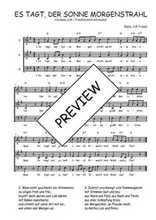Téléchargez l'arrangement de la partition de Traditionnel-Es-tagt-der-Sonne-Morgenstrahl en PDF à trois voix