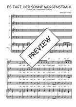 Téléchargez la partition de Es tagt der Sonne Morgenstrahl en PDF pour 4 voix SATB et piano