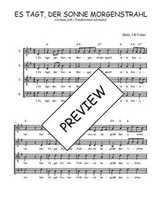 Téléchargez l'arrangement de la partition de Traditionnel-Es-tagt-der-Sonne-Morgenstrahl en PDF à quatre voix