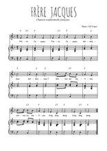 Téléchargez la partition de Frère Jacques en PDF pour Chant et piano