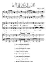 Téléchargez l'arrangement de la partition de Traditionnel-Gentil-coquelicot en PDF à deux voix