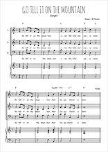 Téléchargez la partition de Go tell it on the mountain en PDF pour 3 voix SAB et piano