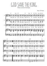 Téléchargez la partition de God save the king en PDF pour 3 voix SAB et piano