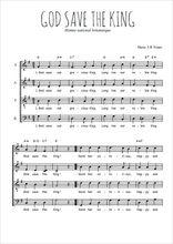 Téléchargez l'arrangement de la partition de hymne-national-britannique-god-save-the-king en PDF à quatre voix