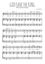 Téléchargez la partition de God save the king en PDF pour Chant et piano