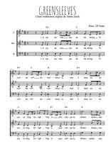 Téléchargez l'arrangement de la partition de angleterre-greensleeves en PDF pour trois voix d'hommes