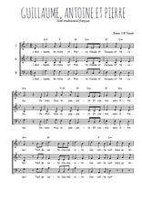 Téléchargez l'arrangement de la partition de Traditionnel-Guillaume-Antoine-et-Pierre en PDF à trois voix