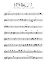 Téléchargez la partition pour saxophone en Mib de la musique israel-hava-naguila en PDF