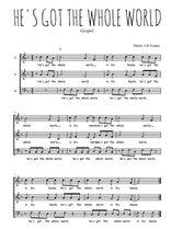 Téléchargez l'arrangement de la partition de Traditionnel-He-s-got-the-whole-world-in-his-hands en PDF à trois voix