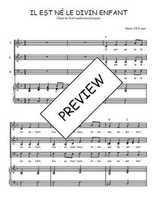 Téléchargez la partition de Il est né le divin enfant en PDF pour 3 voix SAB et piano