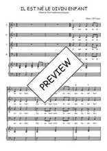 Téléchargez la partition de Il est né le divin enfant en PDF pour 4 voix SATB et piano