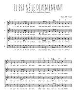 Téléchargez l'arrangement de la partition de noel-il-est-ne-le-divin-enfant en PDF à quatre voix