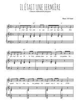 Téléchargez la partition de Il était une fermière en PDF pour Chant et piano