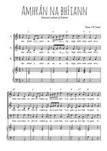 Téléchargez la partition de Amhrán na bhFiann en PDF pour 3 voix SAB et piano