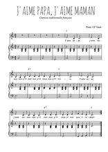 Téléchargez la partition de J'aime papa, j'aime maman en PDF pour Chant et piano