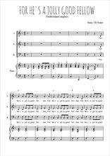 Téléchargez la partition de For he's a jolly good fellow en PDF pour 3 voix SAB et piano